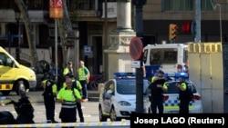 პოლიციისა და სასწრაფო დახმარების მანქანები ტურისტულ ცენტრთან