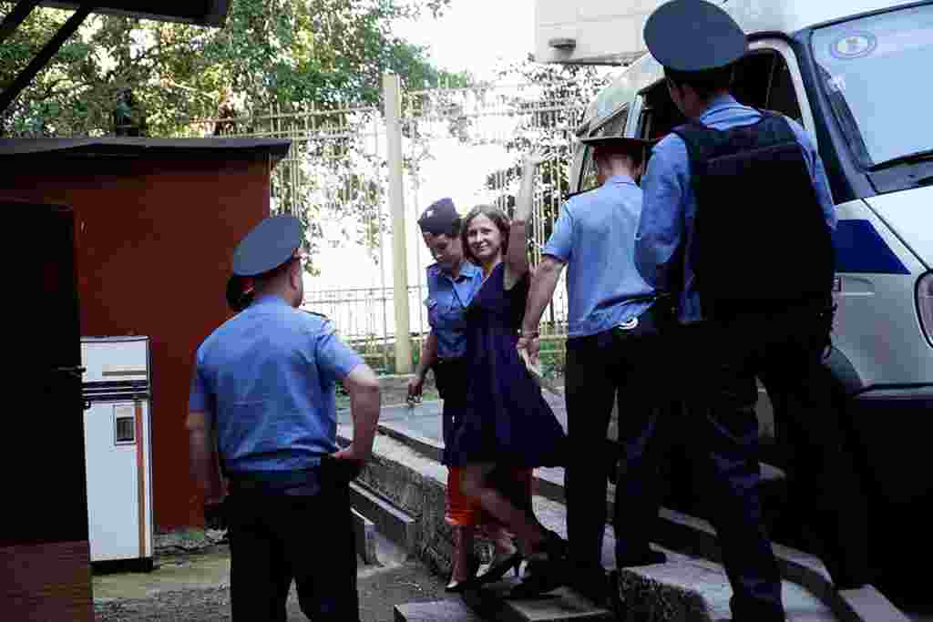 Pussy Riot member Maria Alyokhina arrives at the court.