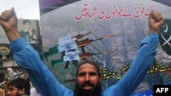 La o demonstrație anti-indiană cu participarea unor militanți radicali din Pakistan