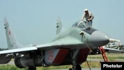 Armenia - A Russian MiG-29 fighter jet at the Erebuni airbase, Yerevan, 11Jun2014.
