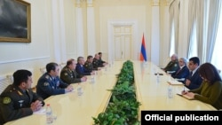 Armenia - President Serzh Sarkisian meets with CSTO Secretary General Nikolay Bordyuzha and the top army generals of the CSTO member states in Yerevan, 15Apr2016.