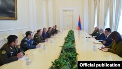 Armenia - President Serzh Sarkisian meets with the top army generals of the CSTO member states in Yerevan, 15Apr2016.