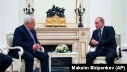 محمود عباس رئیس اداره خود گردان فلسطین با ولادیمیر پوتین رئیس جمهور روسیه در مسکو