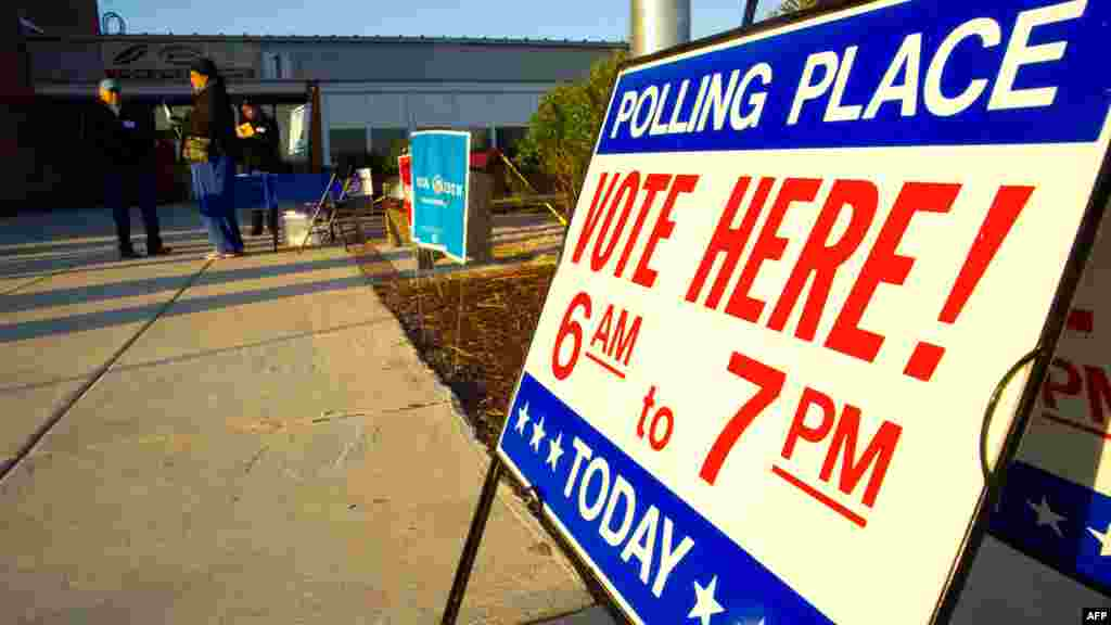Voters head to the polls at Stonewall Middle School in Manassas, Virginia.