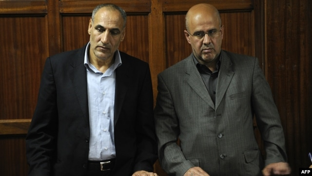 Iranians Said Mansur Musavi (left) and Ahmad Abolfathi Mohammed during their May 6 trial in Nairobi, Kenya