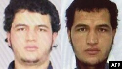 A combo photo shows portraits taken from the arrest warrant for Anis Amri.