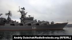 В учениях принимал участие гвардейский ракетный крейсер «Москва»