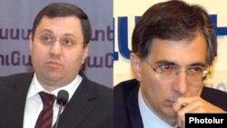 Armenia -- Economy Minister Nerses Yeritsian (L) and Finance Minister Tigran Davtian.