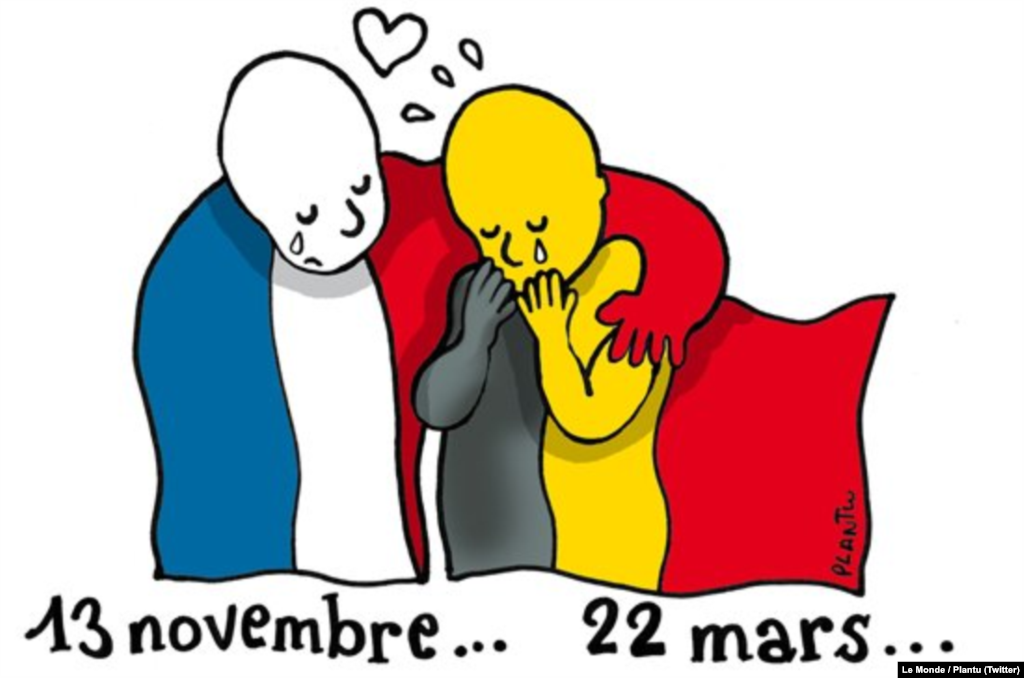 One of the most widely shared memes came from Le Monde cartoonist Plantu, who conflated today's events in Brussels with the deadly terrorist attacks in Paris last November that killed 130 people. (Social-media generated content -- @lemondefr)