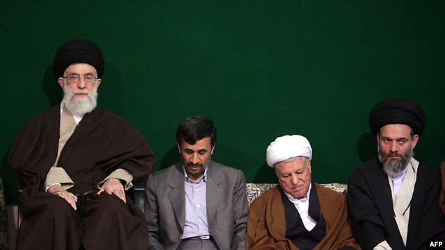 Supreme Leader Ayatollah Ali Khamenei, President Mahmud Ahmadinejad, and Expediency Council Chairman Ali Akbar Hashemi Rafsanjani with an unidentified cleric (left to right) at a memorial ceremony in Tehran on March 23, 2009.