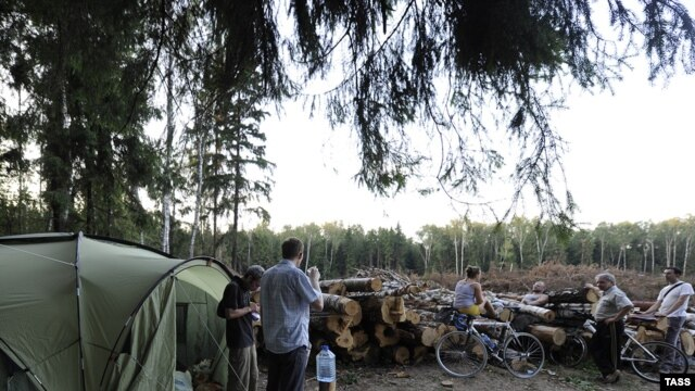 Activists have set up camp by a patch of forest already cleared to make way for the planned highway.