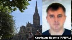 "Денис Сергеев (""Сергей Федотов"") на фона на катедралата в Солсбъри"