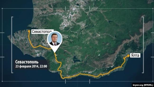 Путь Януковича из Ялты в Севастополь
