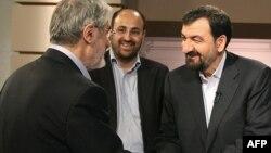 محسن رضایی و میرحسین موسوی، پس از مناظره انتخاباتی، خرداد ۸۸