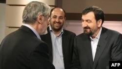 محسن رضایی (راست و میرحسین موسوی، دو نامزد انتخابات دهم