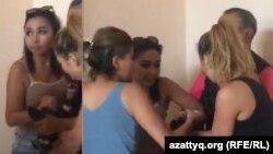 Женщины, атаковавшие журналистов, в том числе съемочную группу Азаттыка, Алматы