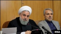 Iran's President Hassan Rouhani during his cabinet meeting, Wed. Sept 12, 2018