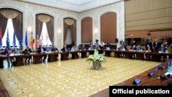 Moldova - Leaders of Armenia, Georgia, Moldova and Ukraine meet in Chisinau to discuss the EU's Eastern Partnership Program, 11Jul2013.