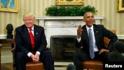 Дональд Трамп (зьлева) і Барак Абама. Вашынгтон, 10 лістапада 2016 году