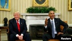 Обраний президентом США Дональд Трамп (л) під час зустрічі з президентом США Бараком Обамою, Вашингтон, 10 листопада 2016 року