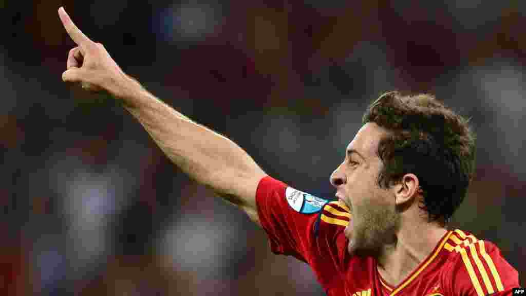 Spanish defender Jordi Alba celebrates after scoring the second goal in the final.