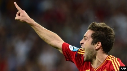 Spain's Jordi Alba celebrates after scoring a goal against Italy in the first half of the Euro 2012 final in Kyiv.