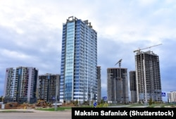 The Minsk World residential complex is seen under construction in Minsk in July 2020.