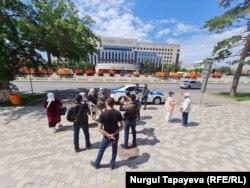 Место, где призывал провести митинг оппозиционер Мухтар Аблязов. Нур-Султан, 17 июля 2021 года