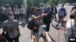 """Протест на текстилни работнички од штипската фабрика """"Алкон текст"""""""