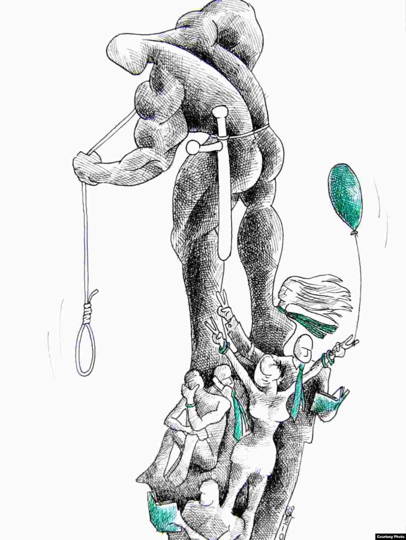A selection of cartoons by exiled Iranian artist Kianoush Ramezani