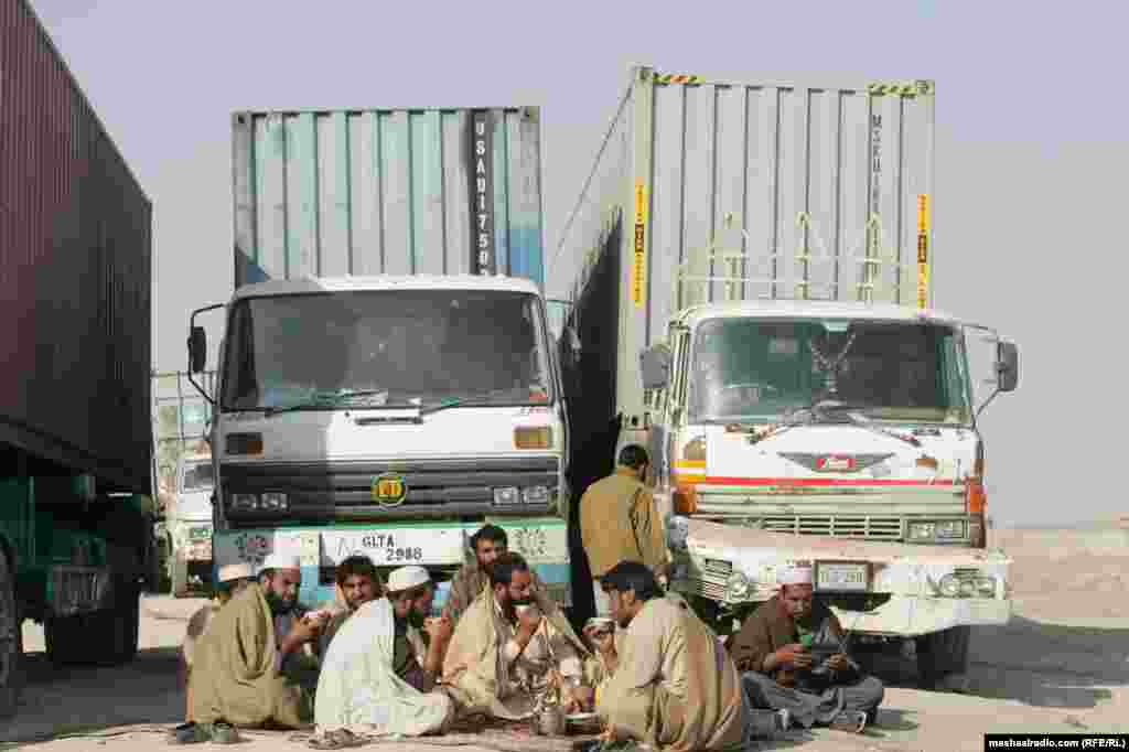 Truck drivers wait after security forces stopped NATO supply trucks in Quetta and Chaman after a NATO raid on a checkpoint in Mahmand in late November.