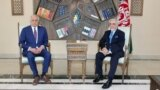 U.S. envoy for peace in Afghanistan Zalmay Khalilzad meets with Abdullah Abdullah, chairman of the High Council for National Reconciliation, in Kabul on March 1.