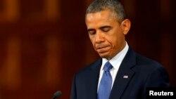 Президент США Барак Обама на панихиде по жертвам взрыва в Бостоне. 18 апреля 2013 года.