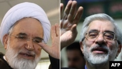 Archive photos of Mehdi Karrubi (left) and Mir Hossein Musavi