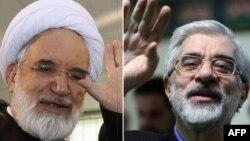 Иранның бұрынғы премьер-министрі Мир-Хосейн Мусави (оң жақта) және Иран парламентінің бұрынғы спикері Мехди Карруби.