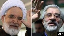 Иран оппозициясы жетекшілері Мир Хусейн Мусави (оң жақта) мен Мехди Карруби.