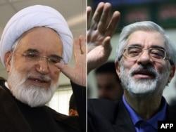 Лидеры оппозиционного Зеленого движения Хосейн Мусави (справа) и реформистский священнослужитель Мехди Карруби.