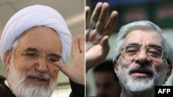 Mir Hossein Musavi (right) and Mehdi Karrubi have been held under house arrest for two years without being charged with a crime.