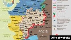 Карта боевых действий в Украине. 28 июня 2015 года.