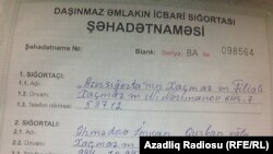 Daşınmaz əmlakın icbari sığortası şəhadətnaməsi