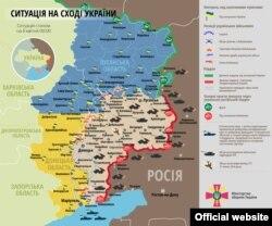 Мапа сытуацыі на Ўсходзе Ўкраіны