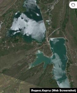 Qarasuvbazar yapma gölüniñ Yandex haritasında süreti