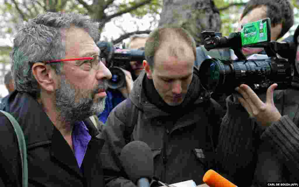 Alex Goldfarb, (left) a close friend of Litvinenko, is interviewed by the media as he arrives at University College Hospital in central London on November 20, 2006. Litvinenko dictated a statement two days before his death, which was read out by Goldfarb.