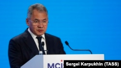 Russian Defense Minister Sergei Shoigu speaks during a conference in Moscow on April 24.
