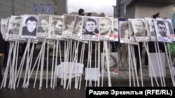 Портреты политических заключенных – непременный атрибут российских акций солидарности с узниками совести