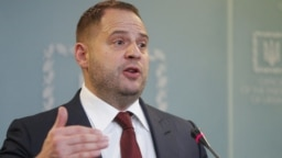 Andriy Yermak speaks at his first press conference as presidential chief of staff in Kyiv in February 2020.