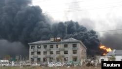 La locul exploziei, Yancheng, provincia Jiangsu 21 martie 2019. REUTERS/Stringer