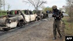 Славянск шаҳри яқинидаги отишма содир бўлган жой, 2014 йил 20 апрель.
