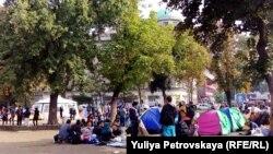 Белградтағы босқындар. Қыркүйек, 2015 жыл.
