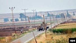 Turkish tanks patrol near the Syrian border near Kilis earlier this week.
